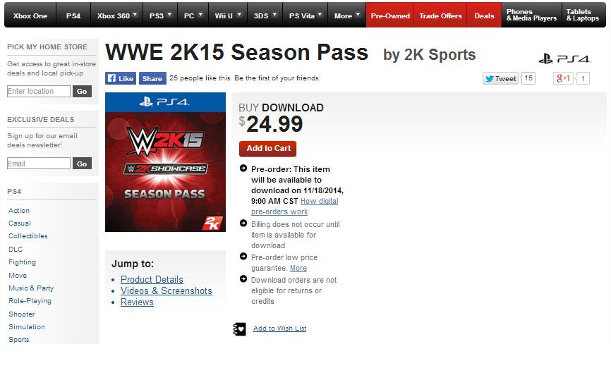 licence key for wwe 2k15 pc